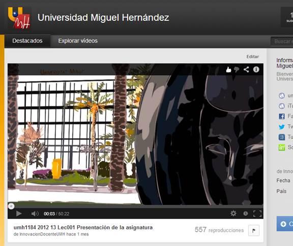 La UMH, la universidad valenciana más vista en Youtube EDU y la sexta