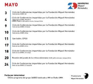 calendario MAYO XX ANIVERSARIO