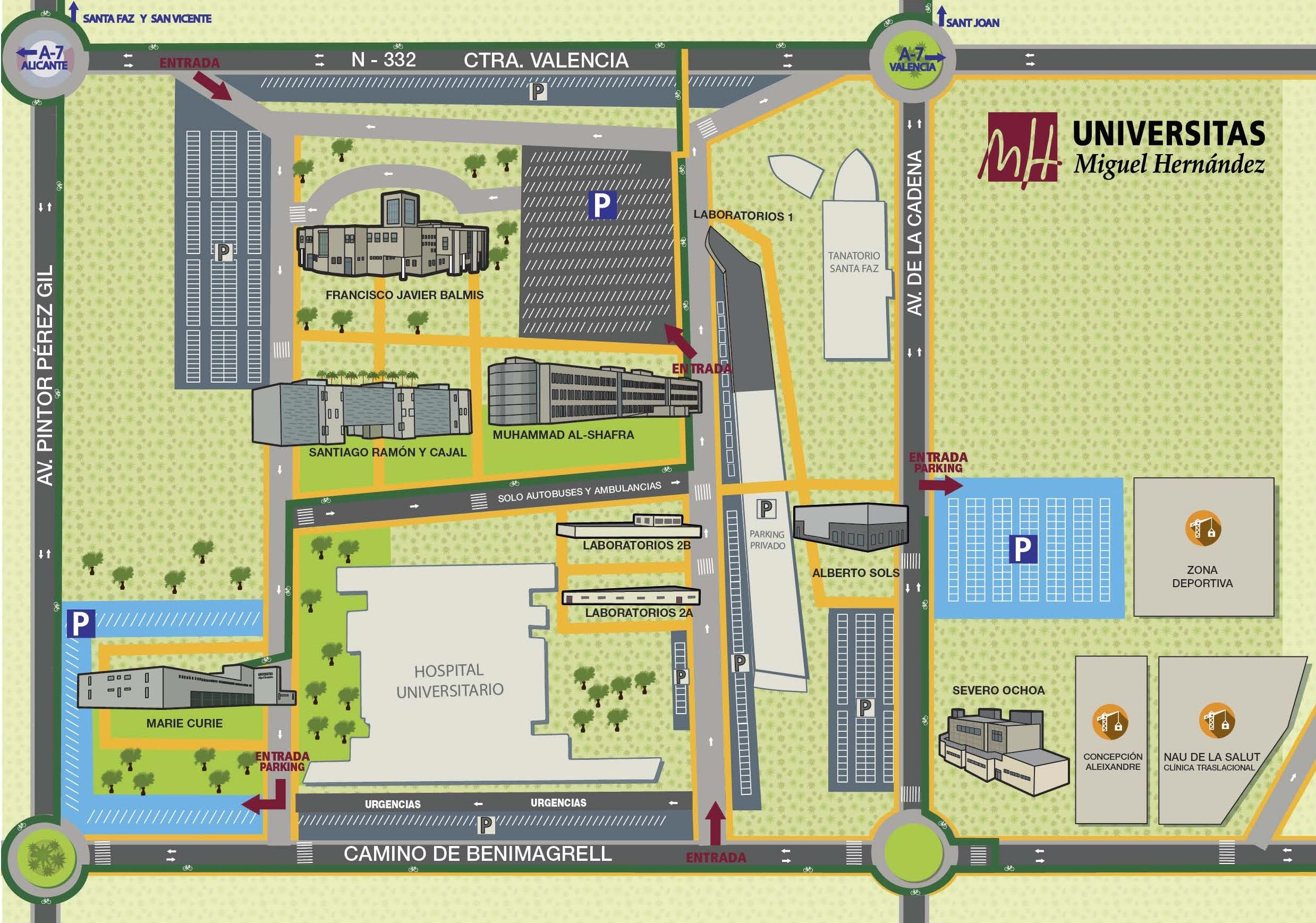 Mapa Universidad De Alicante.Mapas Campus Umh Servicio De Comunicacion